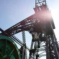 The lift machinery at Astley Colliery